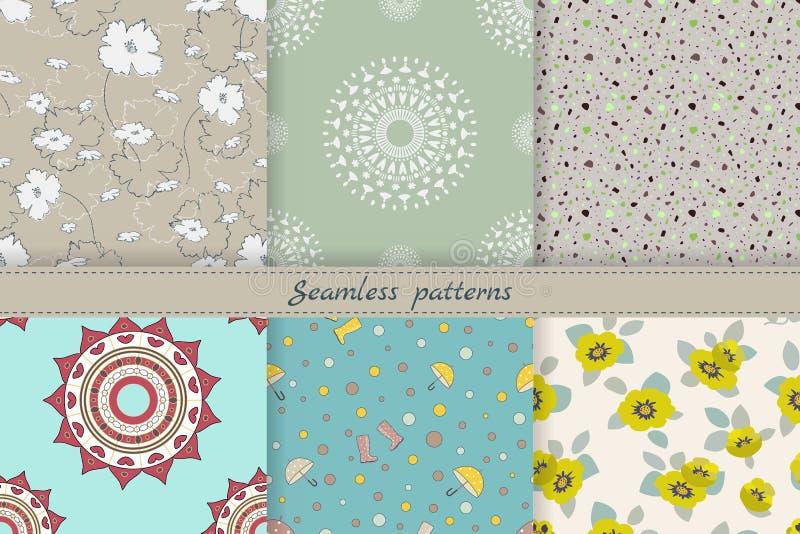 设置逗人喜爱的无缝的样式 墙纸的,积土,网页背景,织品,盖子不尽的纹理 不同的题材:花卉, 库存例证