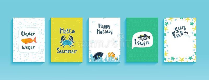 设置逗人喜爱的明信片、飞行物、海报或者横幅模板与滑稽的海洋动物 向量例证