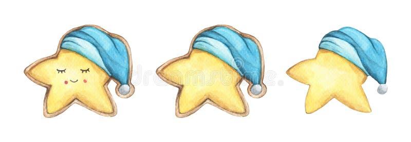 设置逗人喜爱的曲奇饼担任主角在睡帽 向量例证
