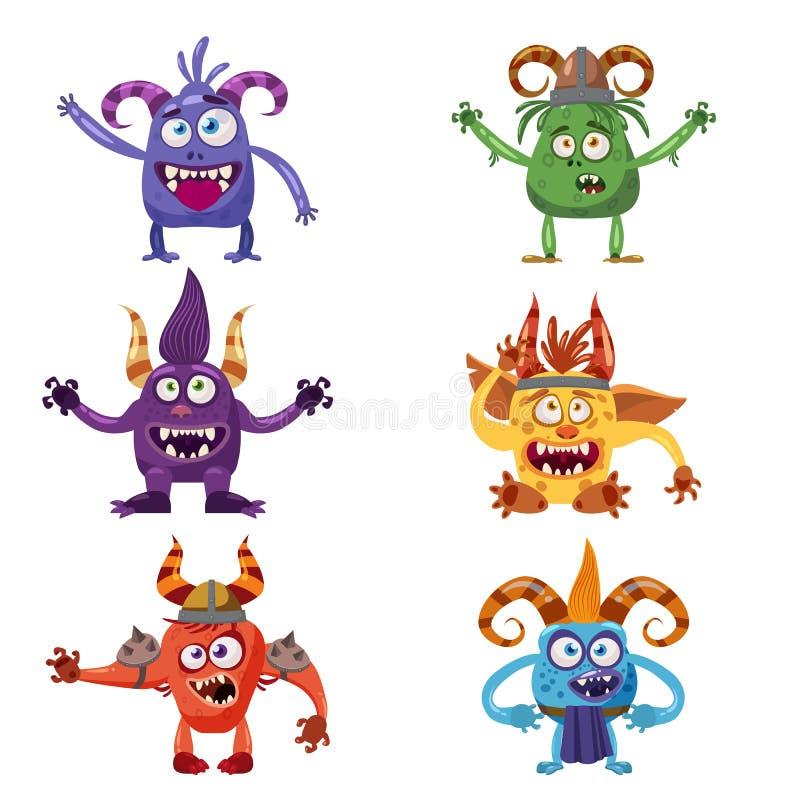 设置逗人喜爱的滑稽的字符旋转,巨足兽,恶鬼,恶魔,雪人,淘气鬼,用不同的情感,动画片样式,书的 库存例证