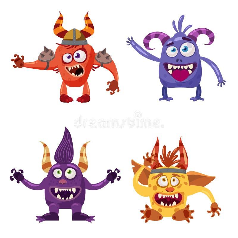 设置逗人喜爱的滑稽的字符旋转,恶鬼,雪人,淘气鬼,用不同的情感,动画片样式,书的,广告 库存例证