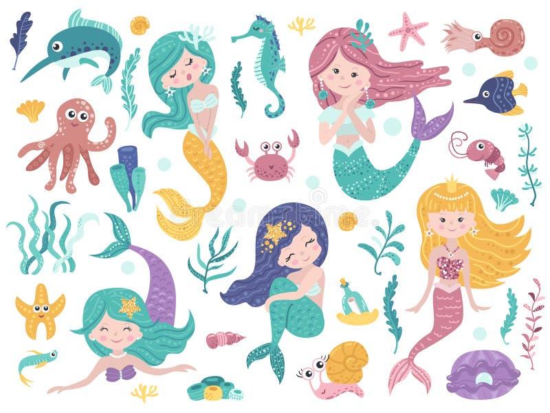 设置逗人喜爱的美人鱼和海自然 库存例证