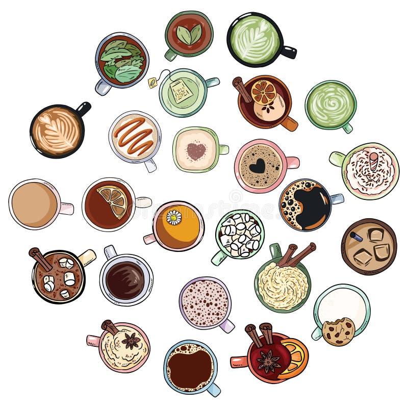 设置逗人喜爱的美味的饮料乱画 茶和咖啡 lineart杯子的手拉的动画片样式收藏 向量例证