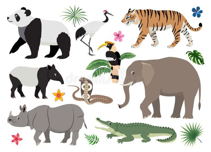 设置逗人喜爱的野生动物和鸟象,孩子的装饰 库存例证