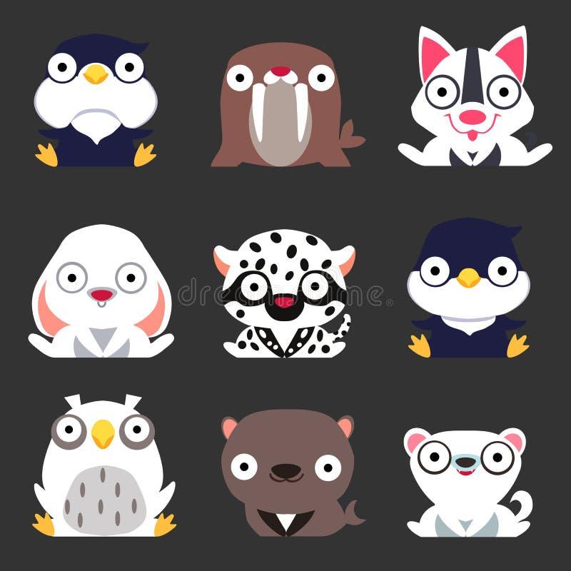 设置逗人喜爱的风格化冬天动物 企鹅、海象、狗、野兔、豹子、猫头鹰、海军封印和白狐坐黑暗的背景 库存例证