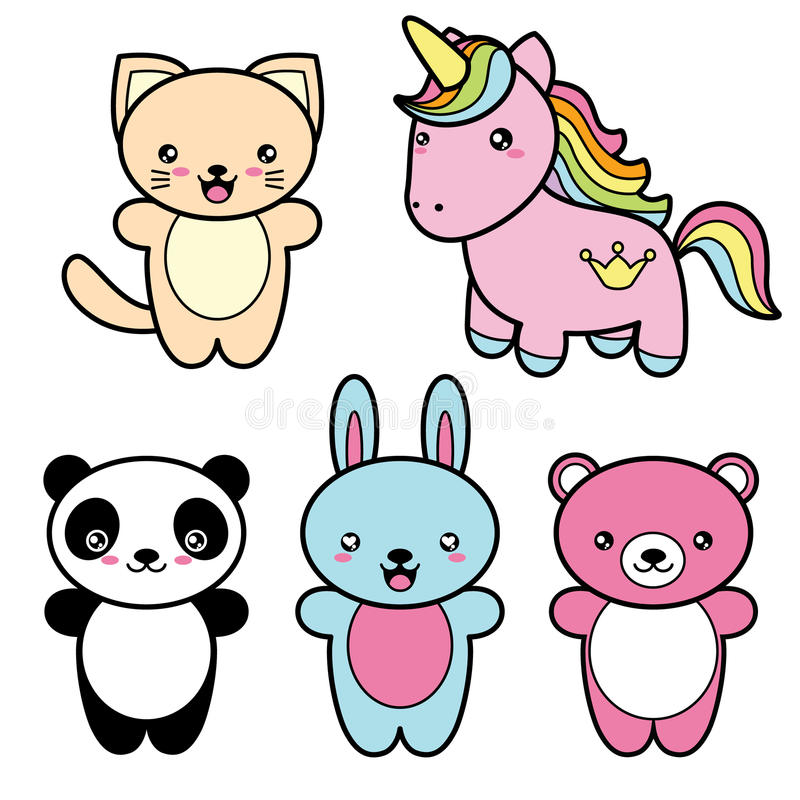 设置逗人喜爱的kawaii样式愉快的微笑的动物的汇集 库存例证