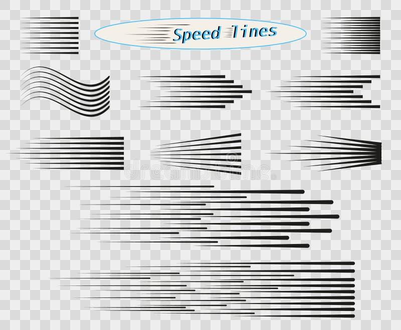 设置速度,运动,黑色简单的水平线的传染媒介不同的选择  芒加动画片设计元素 库存例证