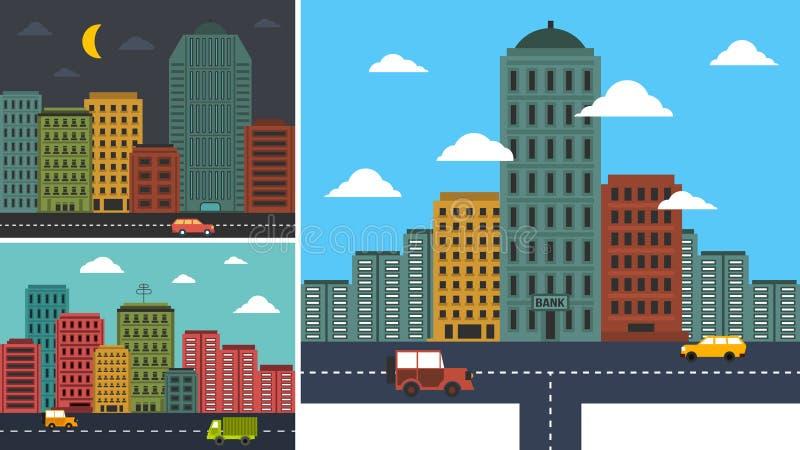 设置都市风景在所有背景中 免版税图库摄影