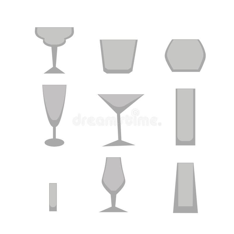 设置酒吧玻璃 向量例证