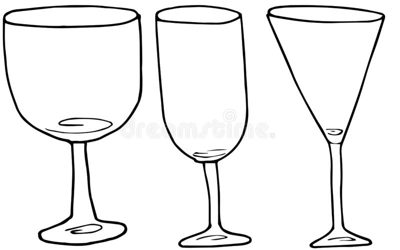 设置酒和鸡尾酒的手画的酒精玻璃 o 库存例证