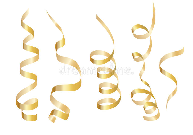 设置金卷曲丝带蛇纹石 背景查出的白色 库存例证