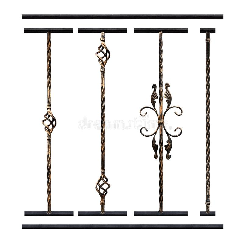 设置金属伪造了在白色背景的产品,设计师工作的元素 扶手栏杆的装饰元素在台阶 免版税库存照片