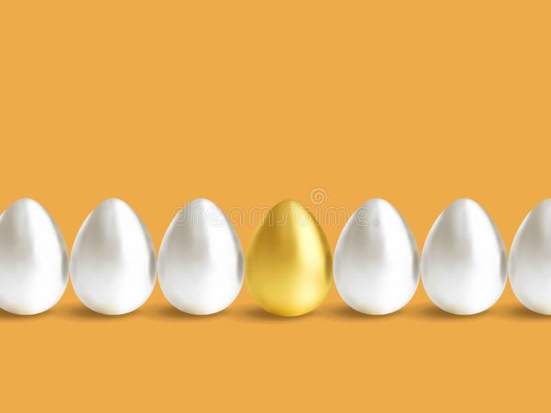 设置金属蛋金子、白色和白金 库存例证
