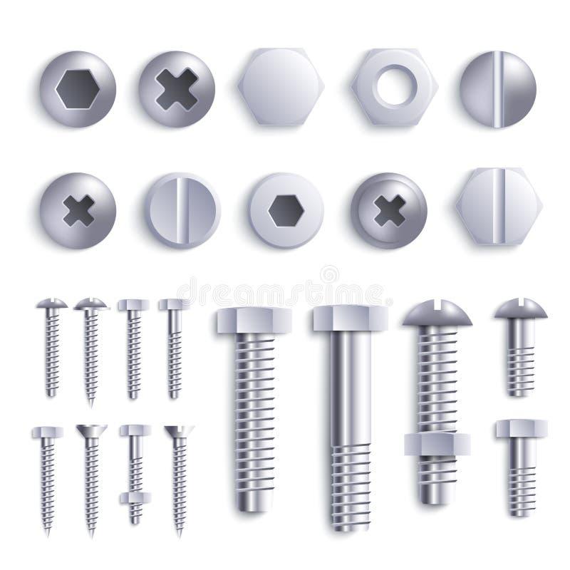 设置金属螺栓和自出渣和螺丝并且朝向现实样式 向量例证