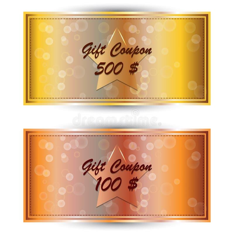 设置金礼物优惠券,礼品券 向量例证