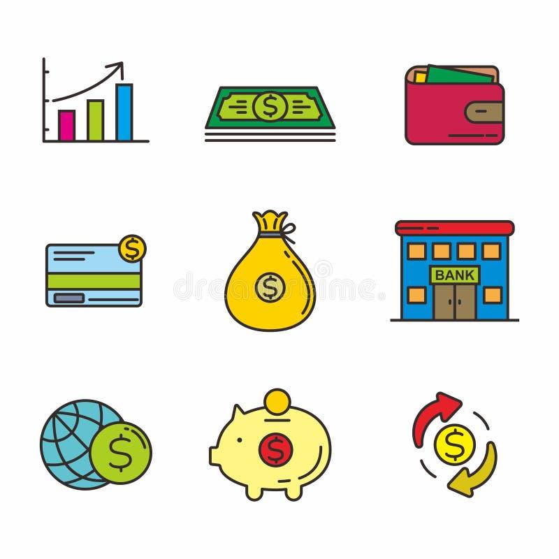 设置金钱和财务相关传染媒介例证 金钱和财务相关象 皇族释放例证