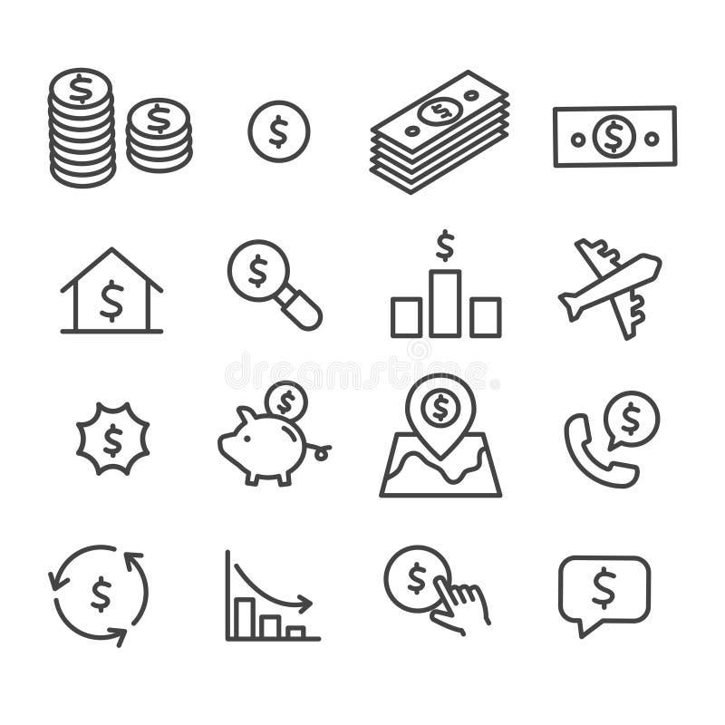 设置金钱象 营销,经营分析在白色背景的概念标志 皇族释放例证