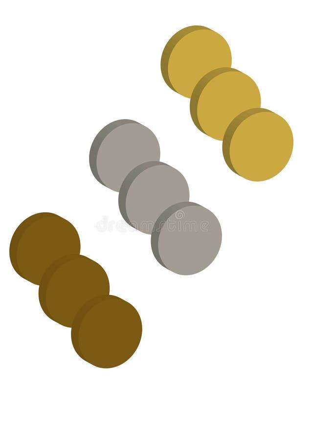 设置金银和古铜色硬币传染媒介例证01 库存例证