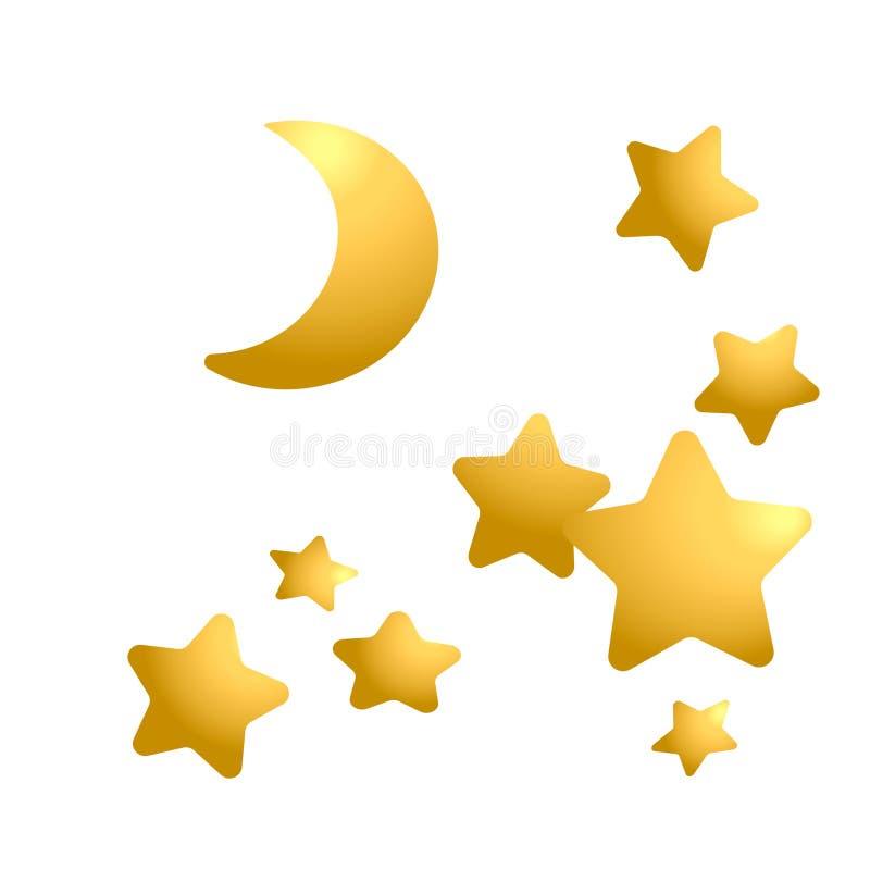 设置金黄星和月亮 库存例证