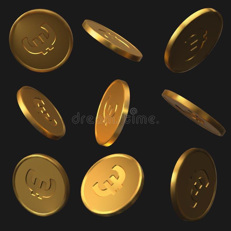 设置金黄欧元硬币 可实现的向量例证 向量例证