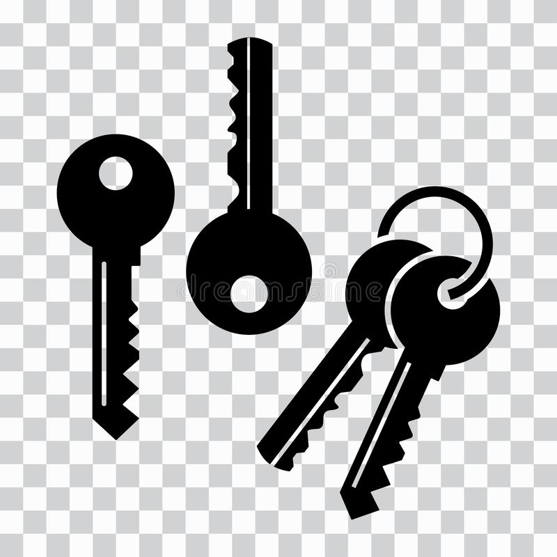 设置钥匙,黑剪影 也corel凹道例证向量 向量例证
