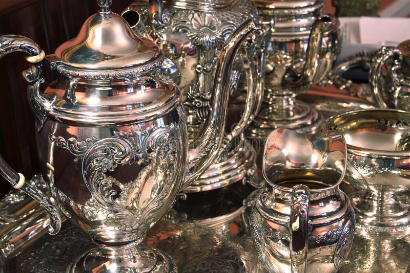 设置银色纯正的茶 库存照片