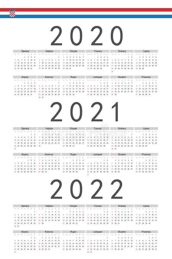 设置长方形克罗地亚人2020年2021年,2022年传染媒介日历 库存例证