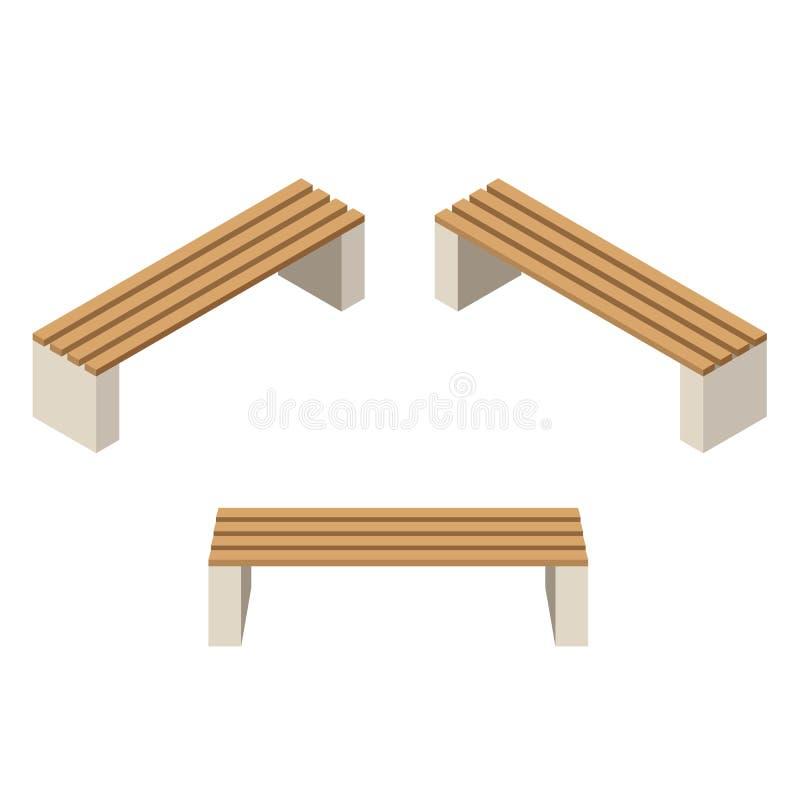 设置长木凳 隔绝修建庭院、农场或者其他室外场面 库存例证