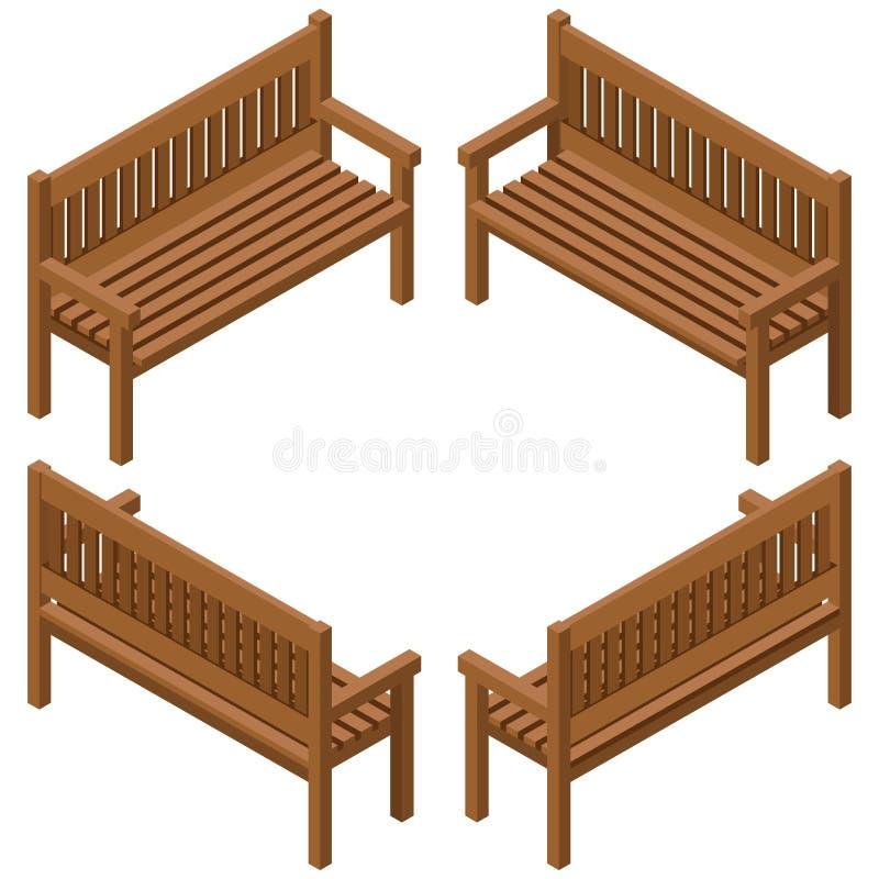设置长木凳 隔绝修建庭院、农场或者其他室外场面 向量例证