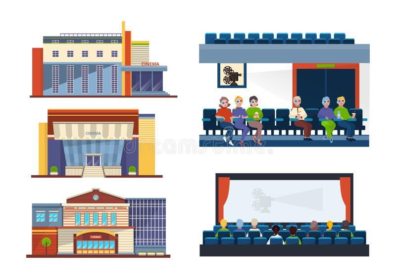 设置门面戏院大厦 人们在观众席,内部戏院大厅 皇族释放例证
