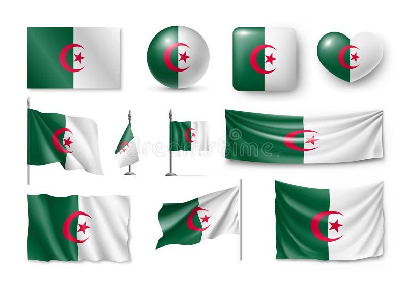 设置阿尔及利亚旗子,横幅,横幅,标志,平的象 库存例证