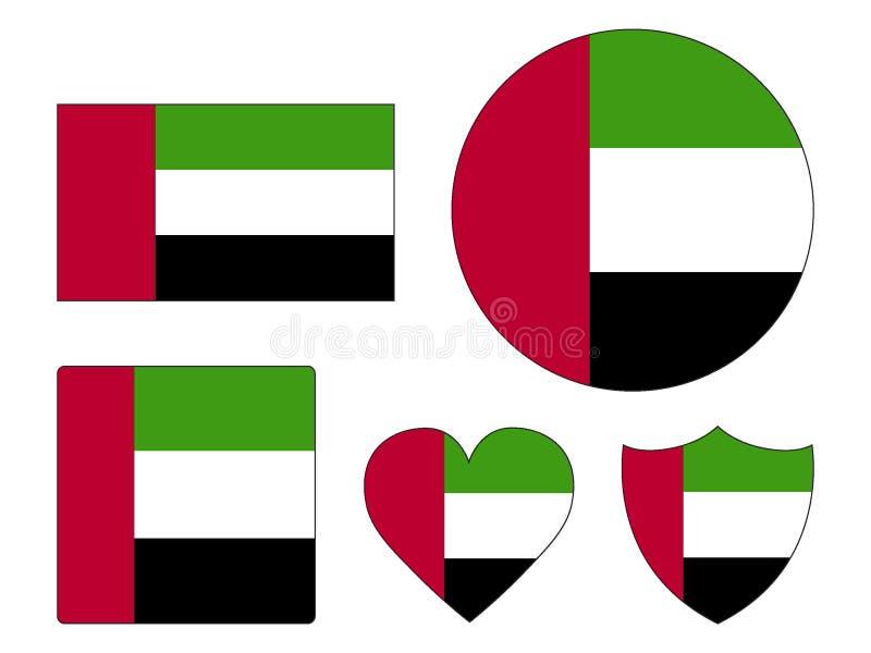 设置阿拉伯联合酋长国的旗子 库存例证
