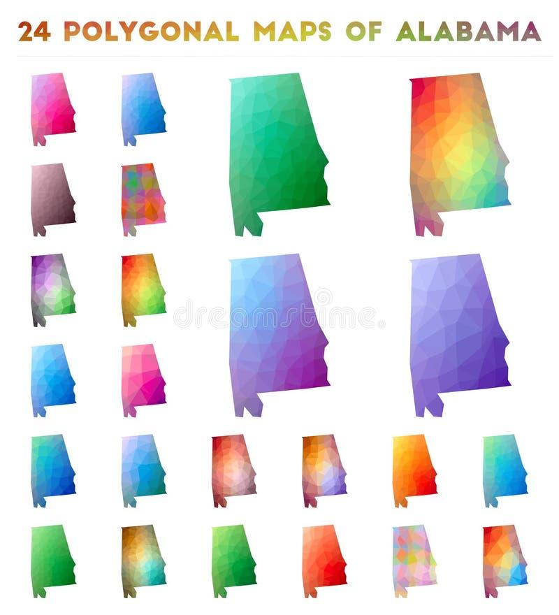 设置阿拉巴马的传染媒介多角形地图 皇族释放例证
