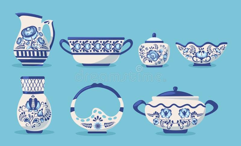 设置陶瓷厨房用具或陶器 皇族释放例证