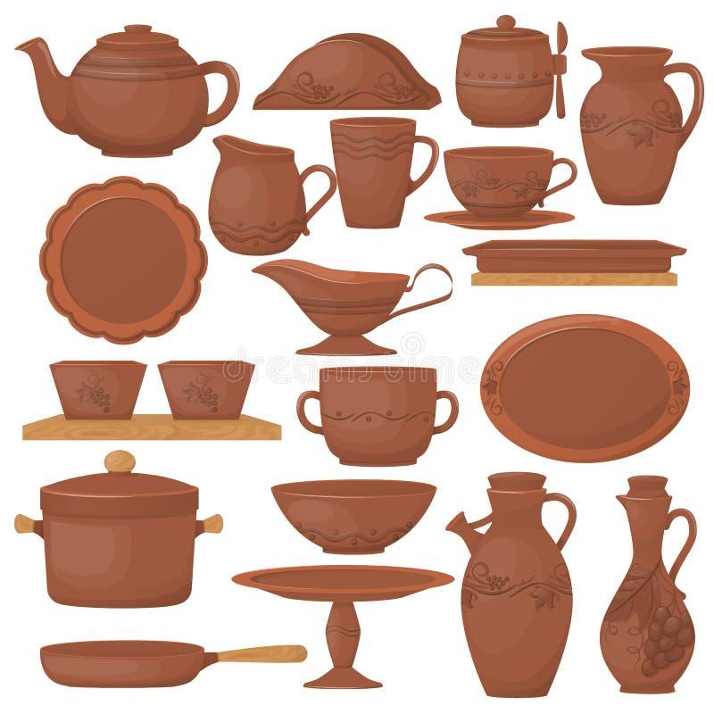 设置陶瓷瓦器 与装饰装饰品的美丽的黏土盘 向量例证