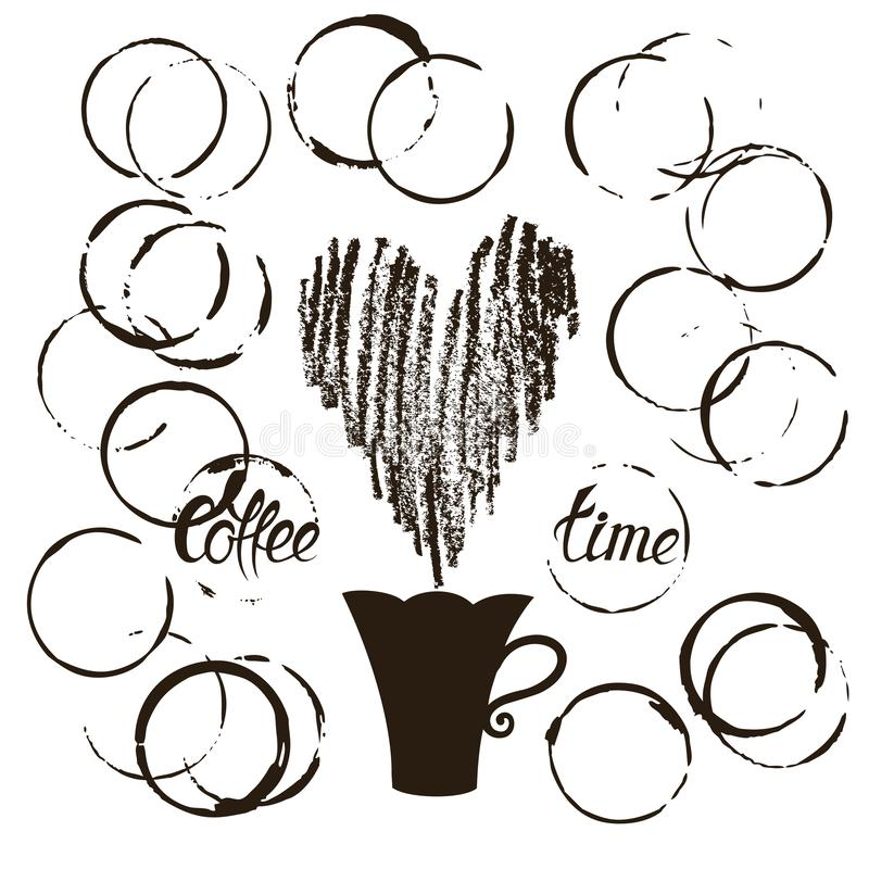 设置难看的东西咖啡杯污点 向量例证