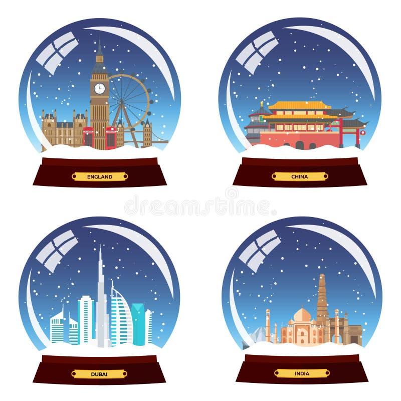 设置雪地球城市 英国、中国、迪拜和印度雪地球的 冬天旅行例证 库存例证