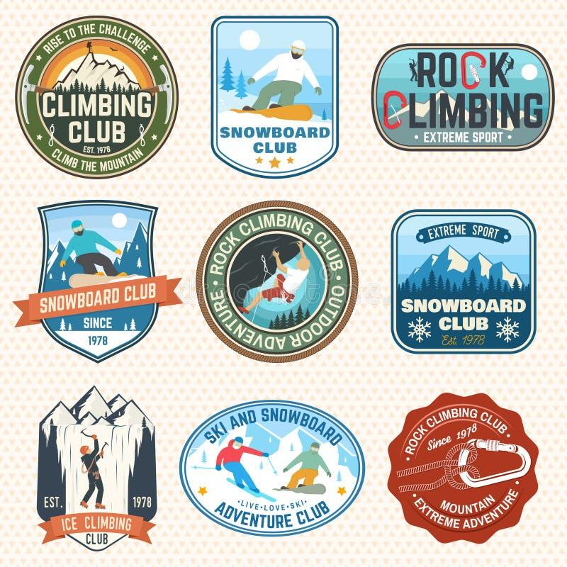 设置雪板运动和攀岩俱乐部补丁 向量 补丁的,衬衣,印刷品,邮票概念 葡萄酒印刷术 库存例证