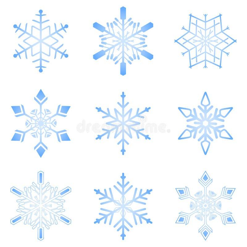 设置雪花 冬天和圣诞节设计的雪花汇集 背景查出的白色 向量 皇族释放例证