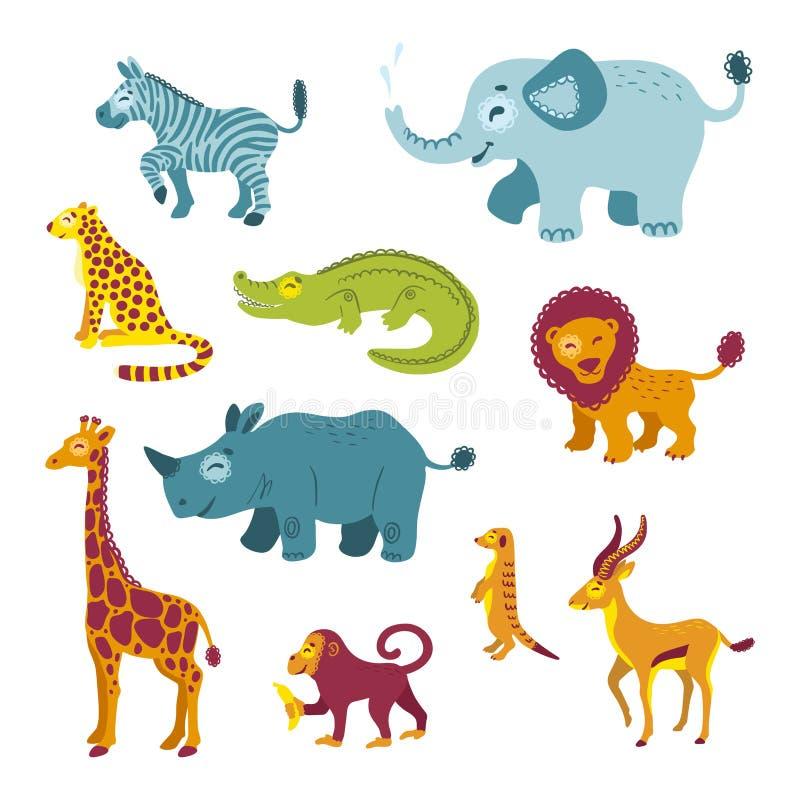 设置非洲动物 向量例证