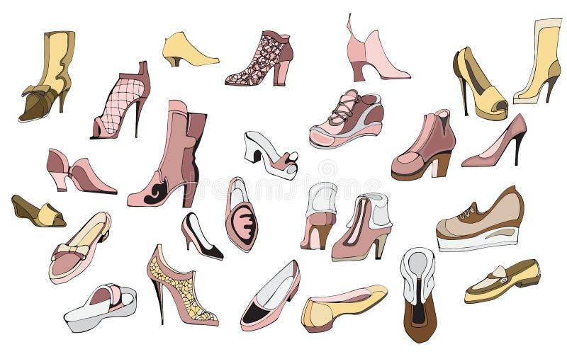 设置鞋子 皇族释放例证
