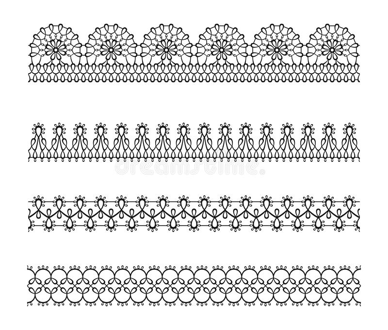 设置鞋带无缝的边界,样式 黑白色剪影典雅的装饰丝带 库存例证