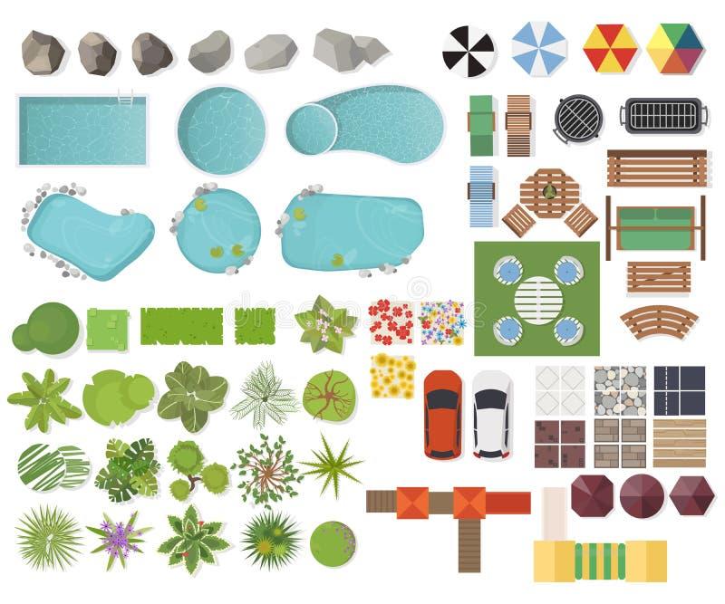 设置风景元素,顶视图 庭院,树,湖,游泳池,长凳,桌 使标志环境美化,室外家具集合isol 库存例证