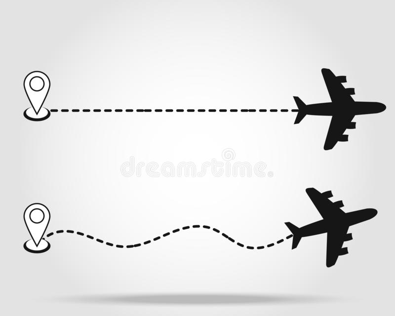 设置飞机航线排行道路-被隔绝的传染媒介例证 库存例证