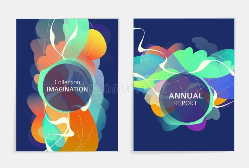 设置飞行物的,broshure,书套,海报,网,年终报告设计 向量例证