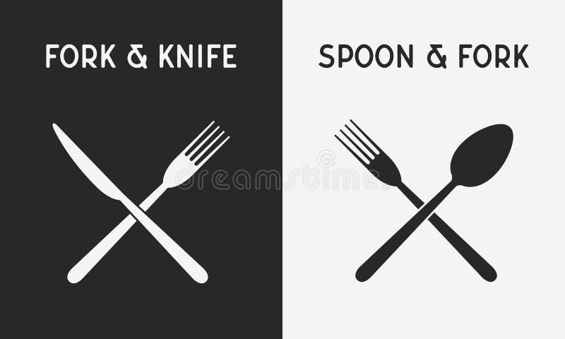 设置餐馆刀子象 叉子剪影和刀子、匙子和叉子 餐馆商标的,菜单设计元素 r 向量例证