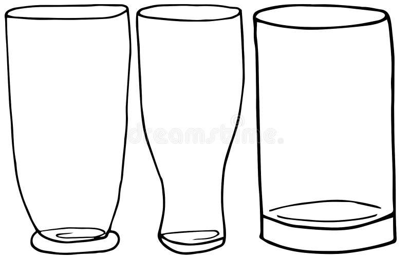 设置饮料、水和鸡尾酒的手画的酒精玻璃 o 皇族释放例证