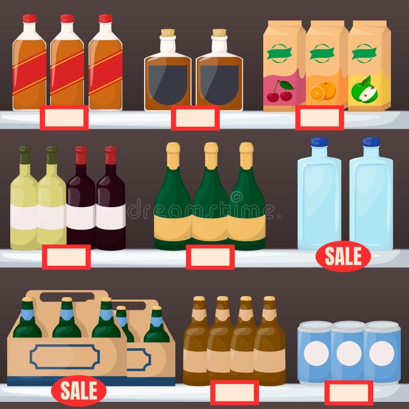 设置饮料和酒产品在超级市场架子 瓶水,啤酒,酒,汁液 动画片传染媒介 向量例证