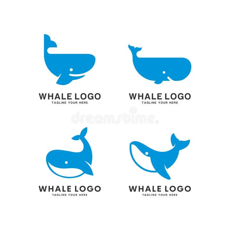 设置鲸鱼种类商标传染媒介例证 库存例证