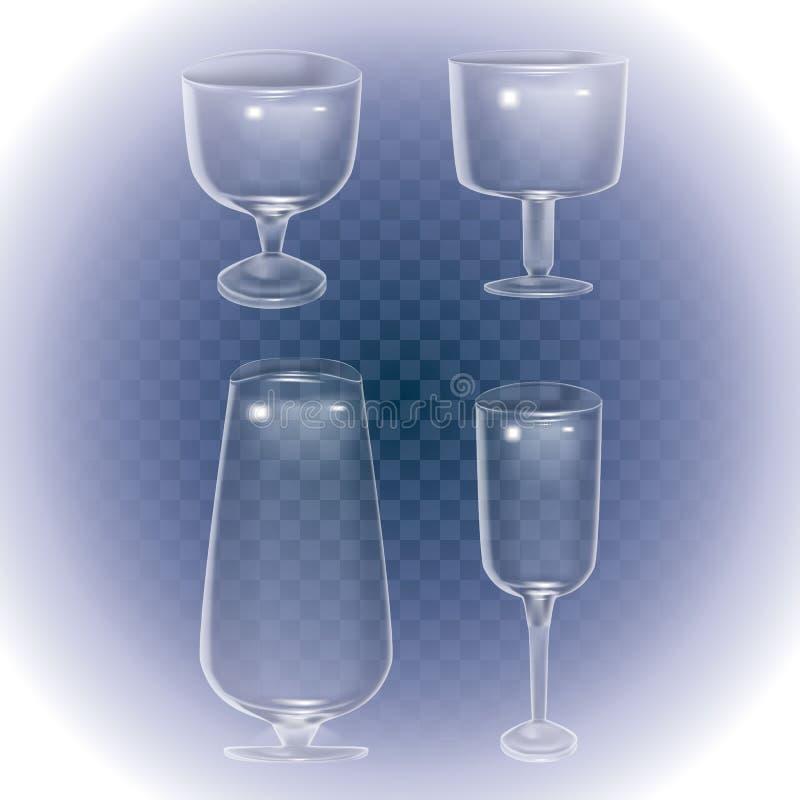 设置鸡尾酒器皿和玻璃酒精的 空的玻璃杯,在透明背景,3d传染媒介象的玻璃酒杯 皇族释放例证
